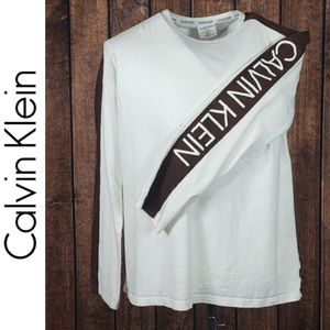Brown and White Crew Neck T Shirt